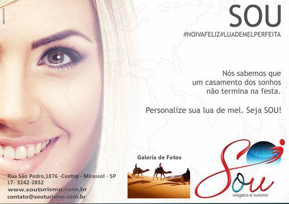 Dicas de Viagem com a Sou Turismo. Veja na Revista Digital Novas Noivas: www.revistanovasnoivas.blogspot.com