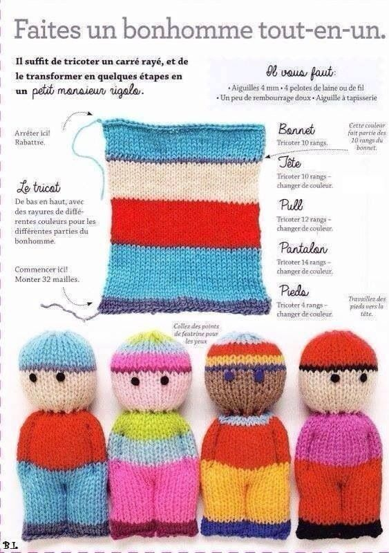 Instructions appear to be in French. Come on Google translator! These little knitted people look cute and possibly quite easy!:
