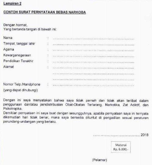 Download Contoh Format Surat Lamaran Pernyataan Seleksi Cpns