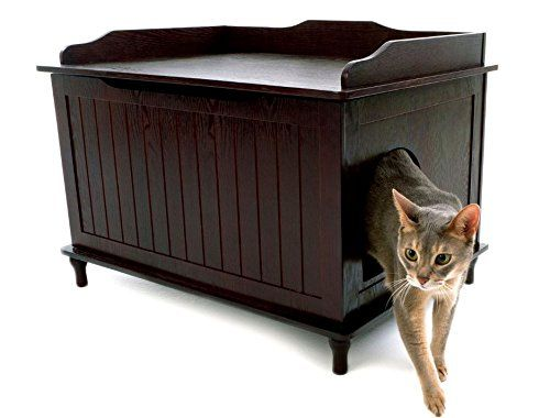 Discreet Litter Box Furniture Blends With Your Decor.  Water and stain resistant.  Click thru if you wanna see inside this pet furniture.