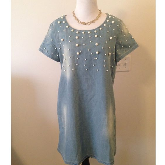 Pearl Embellished Light Denim Shift Dress NWOT So adorable! Light wash, pearl embellished shift dress with POCKETS!! . Back zip. Boutique purchase, NWOT. The distressing is intentional. Fits size small to medium. ❌ NO TRADES ❌ NO PP❌ NO LOWBALLING ❌ Boutique Dresses