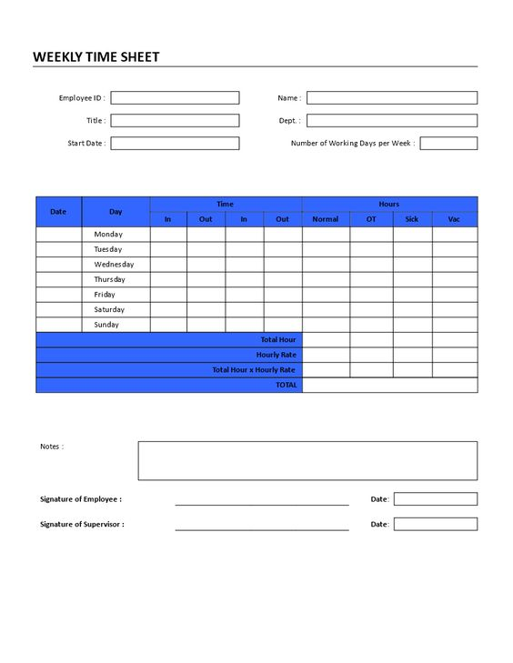 Weekly Time Sheet Registration Form - Weekly time-sheet - church survey template