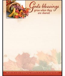 God39s blessings thanksgiving letterhead scrapbook paper stationary stationery paper scrapbook for Thanksgiving letterhead