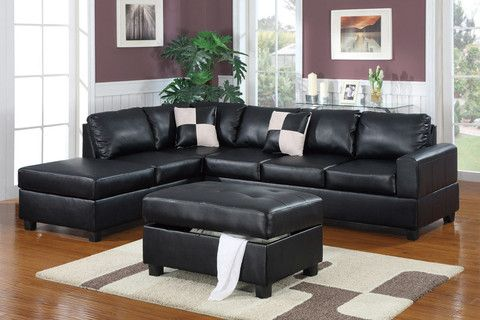 Tullie Sofa with Chaise black | Leather Sofas Brisbane, Melbourne, Sydney - Think Lounges - Australia's favourite lounges at affordable prices.