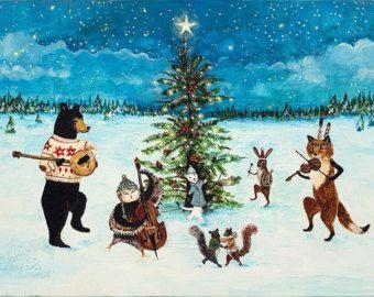 O Joyous Night, Christmas art, woodland christmas, winter solstice, dancing animals, 11X14 print
