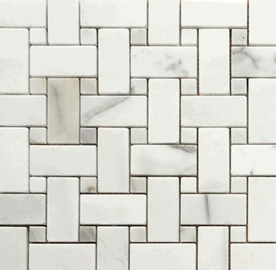 CALACATTA GOLD BASKETWEAVE MARBLE HONED MOSAIC