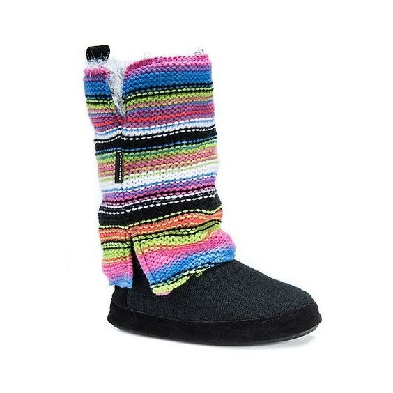 Women's Muk Luks Trisha Striped Sweater Knit Slipper Boots ($48) ❤ liked on Polyvore featuring shoes, slippers and rainbow