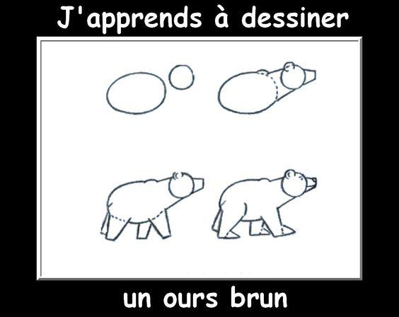 Des fiches j 39 apprends dessiner les animaux apprendre dessiner pinterest animaux - Comment dessiner un ours ...