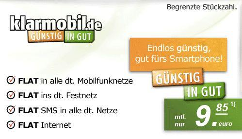 """Klarmobil - Allnet-Flat, SMS-""""Flat"""", 500MB Daten für 10€ auf der Rechnung im o2-Netz - myDealZ.de"""