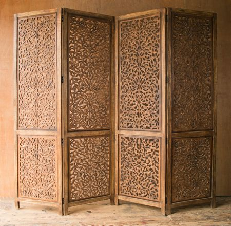 "Carved Wooden Indian Screen, 77.5"" W x 71.5"" H x 1"" D, each individual panel: 19.75"" W x 71.5"" H"