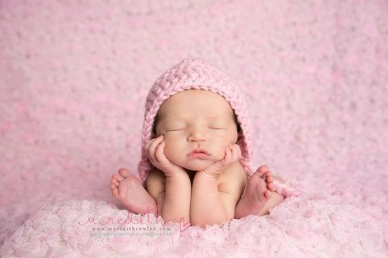 Chunky Basic Bonnet in Blossom Pink Newborn Size- Photography Prop- Newborn Baby Bonnet- MADE TO ORD
