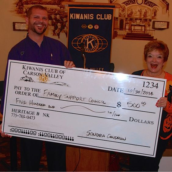 Pictured are Steve Decker, Executive Director of Family Support Council (L) and Sondra Condron, President of the Kiwanis Club of the Carson Valley.