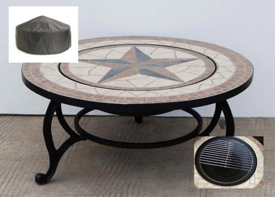 Details About Saltillo Fire Pit Coffee Table Outdoor Patio Heating Garden Heater Bbq Cover