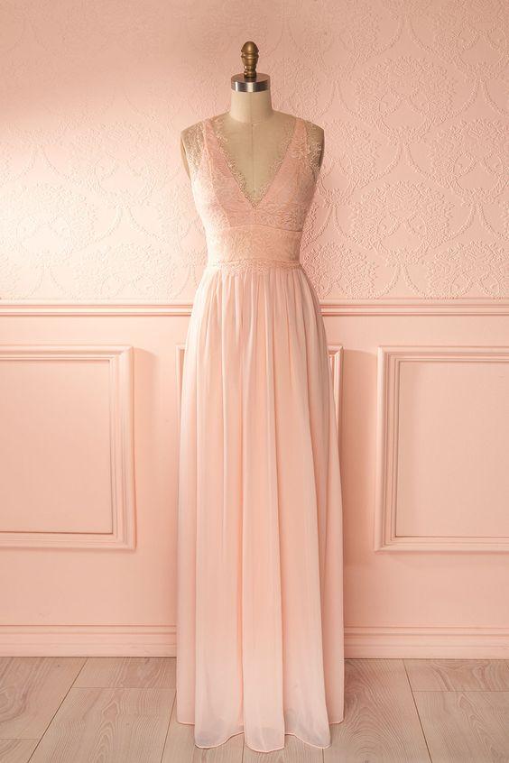 Robe longue voile rose pâle buste décolleté plongeant dentelle - Light pink maxi veil dress lace bust plunging neckline