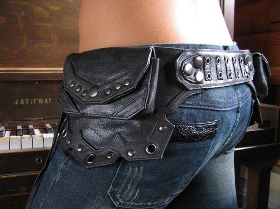 dark lines leather belt bag