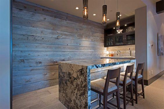 rustic wood behind bar