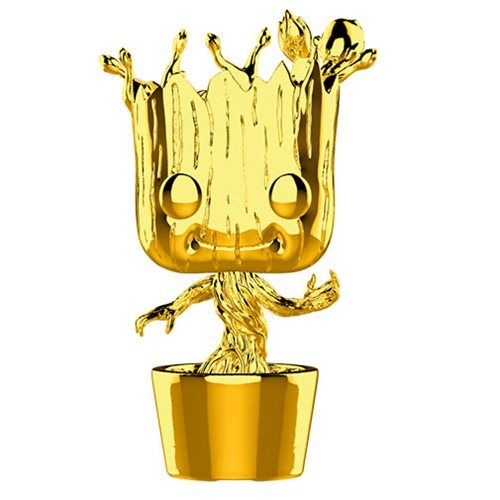 Marvel Studio S 10th Anniversary Guardians Of The Galaxy Chrome Dancing Groot Pop Vinyl Figure 378 Entertainment Earth Pop Marvel Pop Vinyl Figures Funko Pop Marvel
