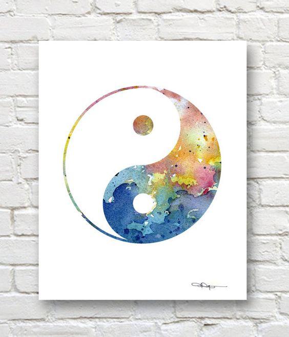 Yin Yang - Art Print - Abstract Watercolor Painting - Wall Decor