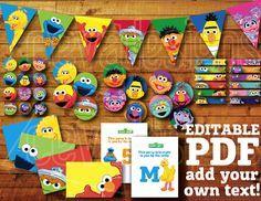 60 + páginas imprimibles Sesame Street cumpleaños decoración / sésamo Street Party Decor Digital instantánea descargar con Elmo Banner / Bunting