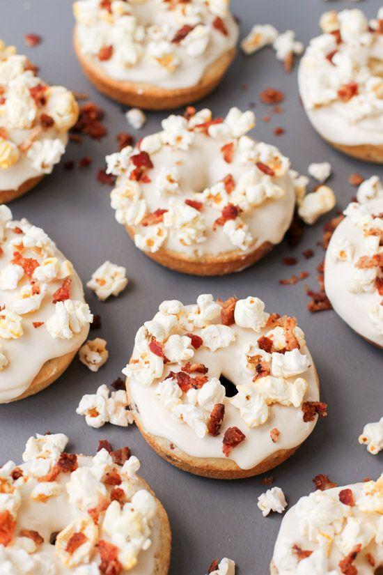 Maple Glazed Bacon Donuts with Popcorn Sprinkles (Recipe)