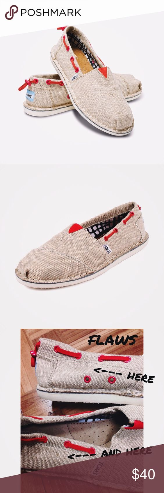 🆕 TOMS Burlap Bimini Stitchout Shoes (Size 8) NWT These beautiful TOMS come brand new with tags (without the box) and were originally sold for $64. They're made of a rugged burlap material and feature red accents. The edges of the shoes are purposely frayed. There is some VERY minor discoloration, as shown in the 3rd photo. If you have any questions, please let me know!  🚫NO trades.🚫 ✅Feel free to make me an offer! Please note that I only consider offers that are made through Poshmark's…