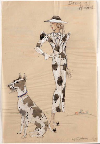 Modeentwurf, Dame im Dalmatinerlook und Hund, Modesammlung, Naumann, Ilse, 1936.