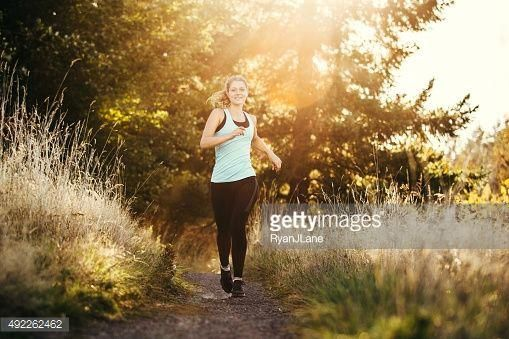 Photo Trail Running Woman In Forest Love Handle Workout Fitness Photoshoot Trail Running Women
