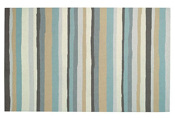 Mesmerize-Stripe Rug, Aloe on OneKingsLane.com beach house dining