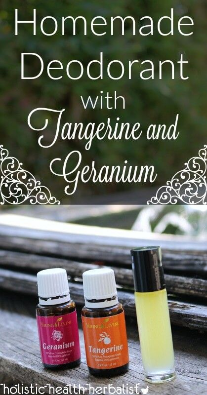 Homemade Deodorant Recipe with Tangerine and Geranium - Learn how to make a scrumptious roll-on deodorant that takes just minutes to make. It's effective, smells amazing, and is easy to take with you everywhere you go!
