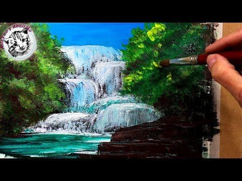 How To Paint Water Waterfalls 1 Of 19 Youtube Landscape Painting Lesson Waterfall Paintings Painting Videos Tutorials