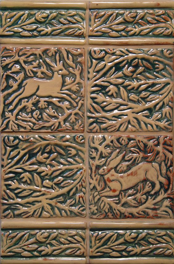 Animal Tiles in Ochre & Green glaze by Moore-Merkowitz Tile
