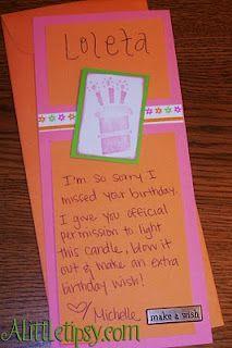 Belated Birthday idea!