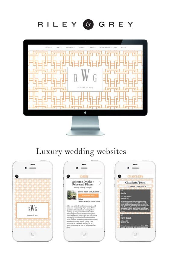 Trellis design in Orange RILEY GREY luxury wedding websites – Wedding Save the Date Websites