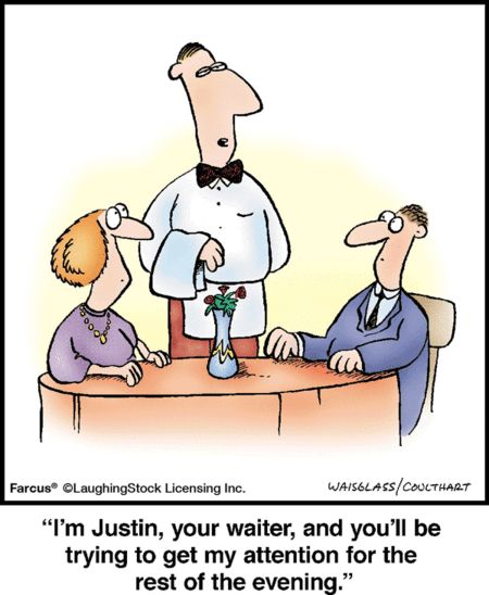 Restaurant etiquette.