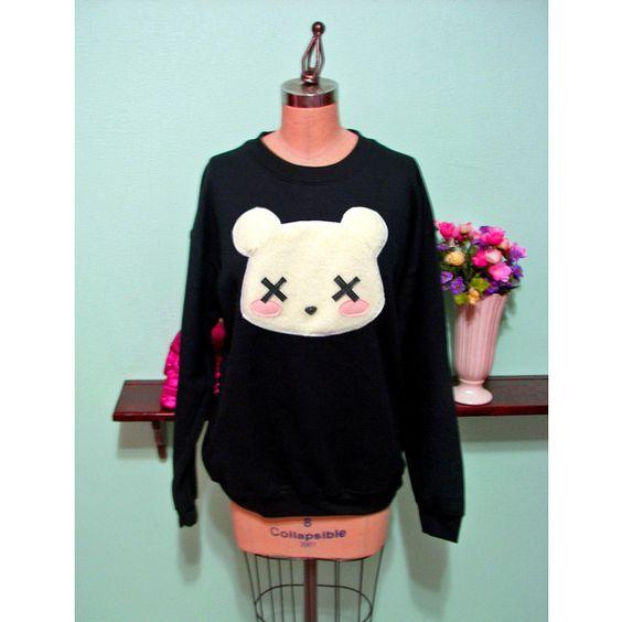 Pastel Goth Kawaii Grunge Deaddy Bear - Dead Teddy Bear Oversized Sweatshirt ($45) found on Polyvore