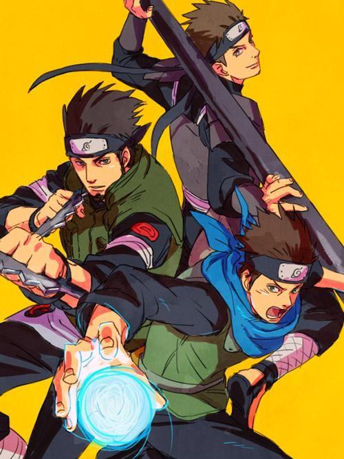 Konohamaru, su tio Asuma y su padre