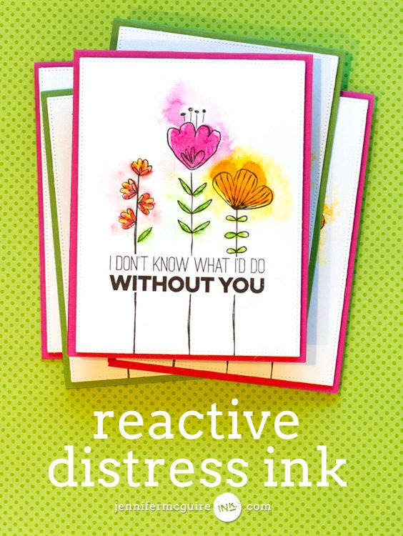 Reactive Distress Ink Video by Jennifer McGuire Ink stamp image, stamp fill in image and just spritz with water to make it spread