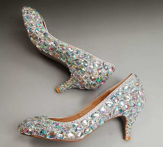 AB crystals Rhinestone kitten heels, Wedding Shoes. low heel ...