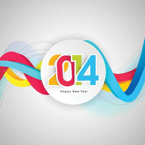 Free vector illustration happy new year typography colorful text in circle with abstract lines background