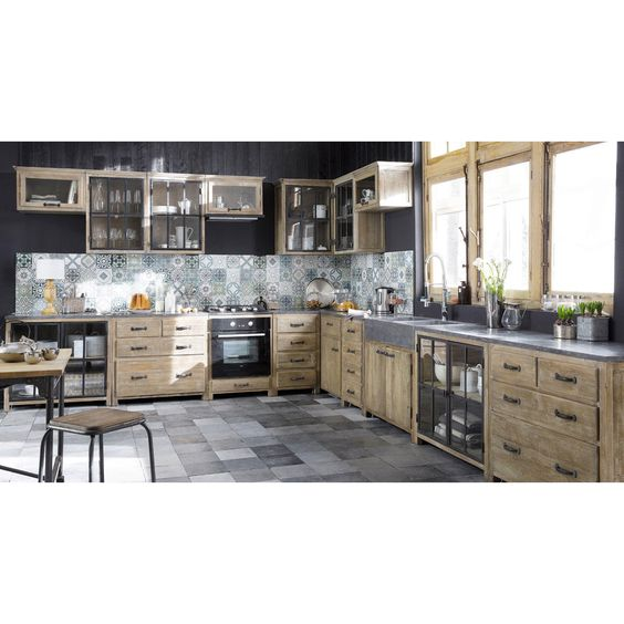 meuble bas de cuisine en bois recycl copenhague placards peintures murales et r ves. Black Bedroom Furniture Sets. Home Design Ideas
