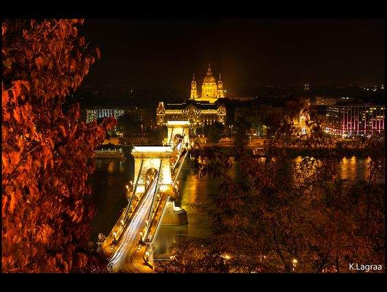 Budapest by night (Chain Bridge and Danube) - Hungary