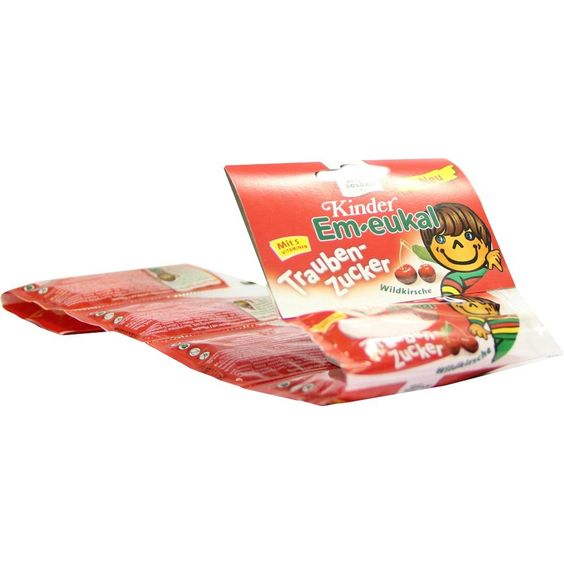 EM EUKAL Kinder Traubenzucker Lutscherkette:   Packungsinhalt: 6X8 g Bonbons PZN: 07747630 Hersteller: Dr. C. SOLDAN GmbH Preis: 1,34 EUR…
