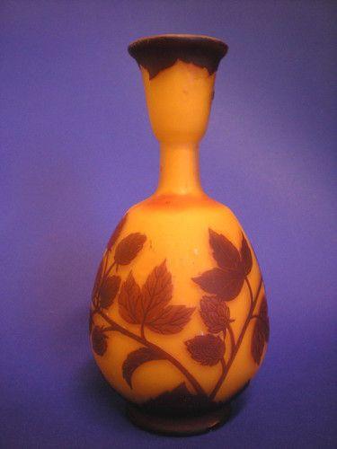 Loetz Richard vase. Acid etched glass. Hops? with dragonfly