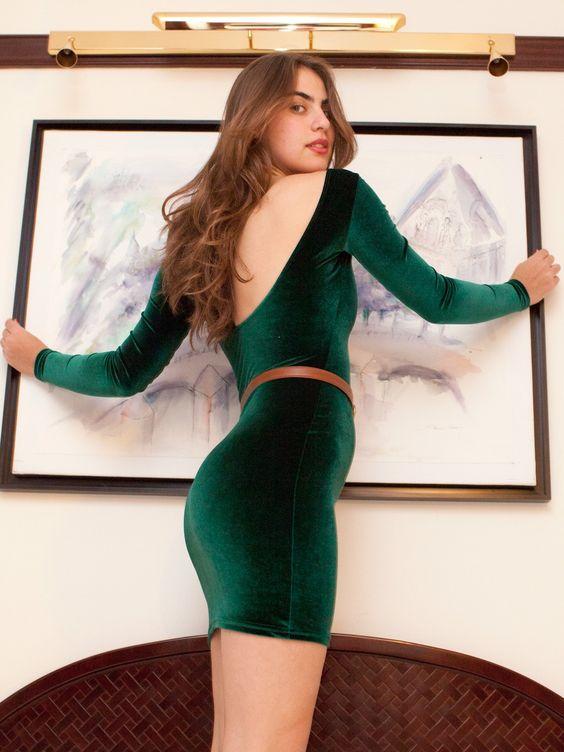 Velvet mini dress long sleeves