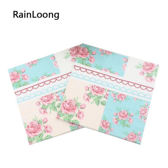 [ Rainloong ] de papel impresso guardanapos de tecido de recursos Rose festividades & Party decoração 33 cm * 33 cm 20 unidades/pacote(China (Mainland))