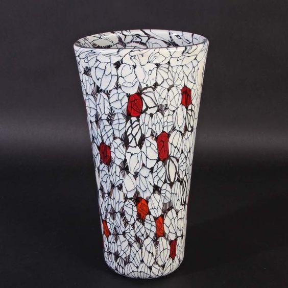 Vase Rosenmurrine rot/opak weiß/schwarz Vittorio Ferro Murano Glas Frat. Pagnin