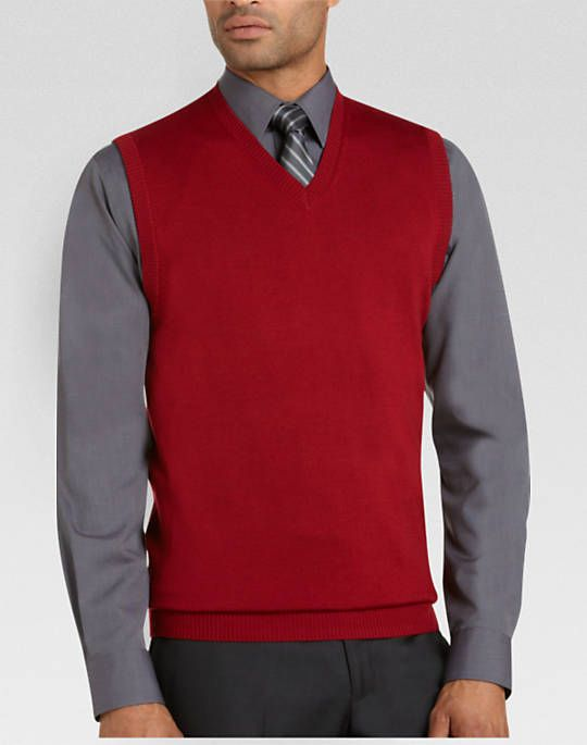 Pronto Uomo Red Merino Sweater Vest | Men's Wearhouse - ROBERT ...