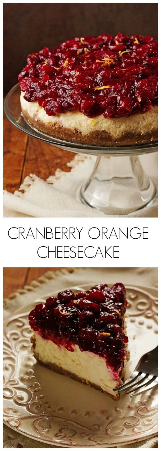 Cheesecake - sweet and creamy orange cheesecake with cranberry sauce ...