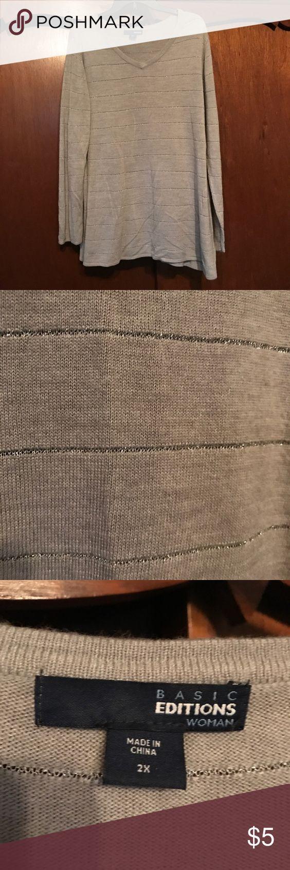 Euc gray and silver stripe sweater sz 2x Worn once 2x gray and silver stripe sweater. Very soft! basic editions Sweaters V-Necks