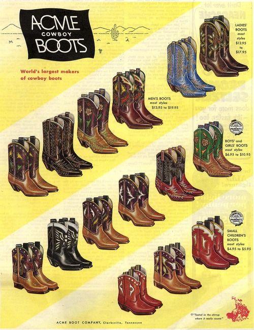 Acme Cowboy Boots advertisement.   4 Color Cowboy   Pinterest ...